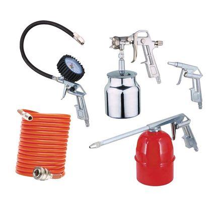 Immagine di Kit 5 acces per compressore, pist di soffiaggio, pist per verniciatura, pist per lavaggio, pist di gonfiaggio, tubo