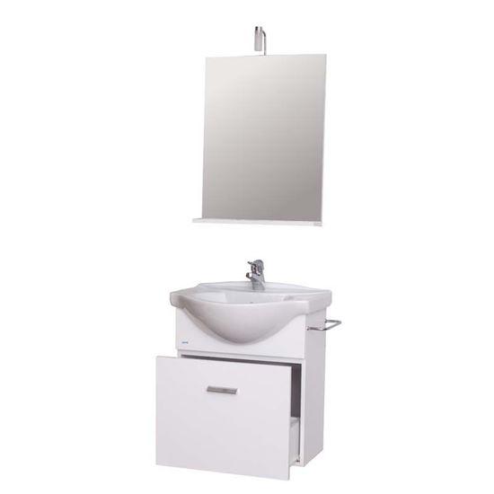 Mobile bagno Giulia base con lavabo, 55 cm 1 cassetto, bianco, specchio con  mensola 52x12xh71 cm, illuminazione alogena