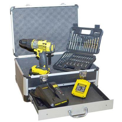 Immagine di Trapano avvitatore a percussione + valigetta accessori, Stanley Fatmax 18 V, FMCK625D2F-QW, 2 batterie litio, 2,0 Ah