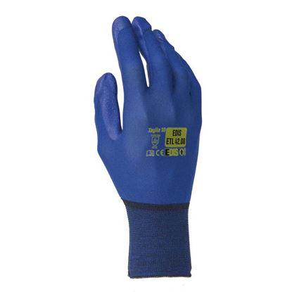 Immagine di Guanto in nylon senza cuciture, spalmatura in poliuretano, sul palmo e sulle dita, colore blu, taglia 8