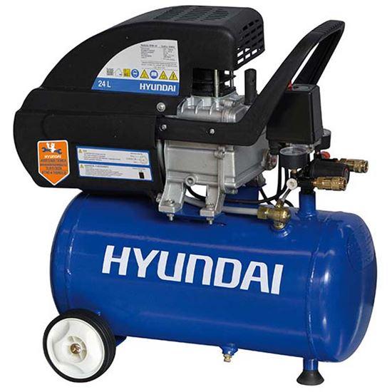 Immagine di Compressore Hyundayi lubrificato, serbatoio 24 lt, potenza 2 Hp - 1500 W, pressione massima 8 bar, peso 22,5 kg