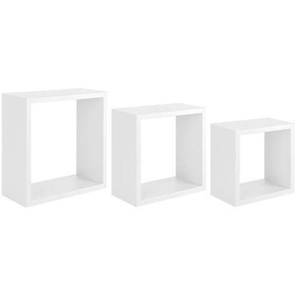 Immagine di Cubotto Incubo, in fibra di legno, portata 10 kg, set 3 pezzi, 35xh35x15,5 / 30xh30x15,5 / 25xh25x15,5 cm, bianco