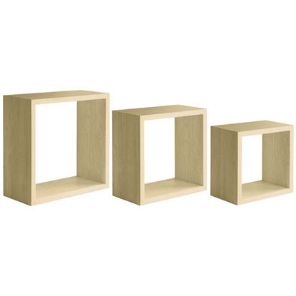 Immagine di Cubotto Incubo, in fibra di legno, portata 10 kg, set 3 pezzi, 35xh35x15,5 / 30xh30x15,5 / 25xh25x15,5 cm, rovere sagerau