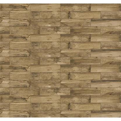 Immagine di Pavimento Water sign  15,6x60,6 cm, gres porcellanato, spessore 8 mm, confezione da 1,36 m², colore marrone