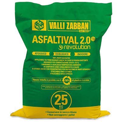 Immagine di Asfaltival Revolution Valli Zabban,  conglomerato bituminoso a freddo, per il ripristino parziale dei manti stradali, saturazione buche, chiusura scavi, autoagglomerante, 25 kg
