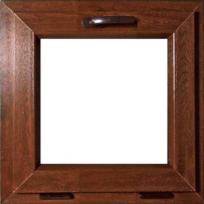 Immagine di Finestra pvc 1 anta vasistas 6 camere, doppio vetro, 45x45 cm, colore noce
