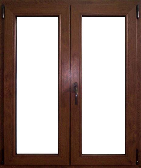 Finestra Pvc, 2 ante, doppio vetro, 5 camere, colore noce scuro ...