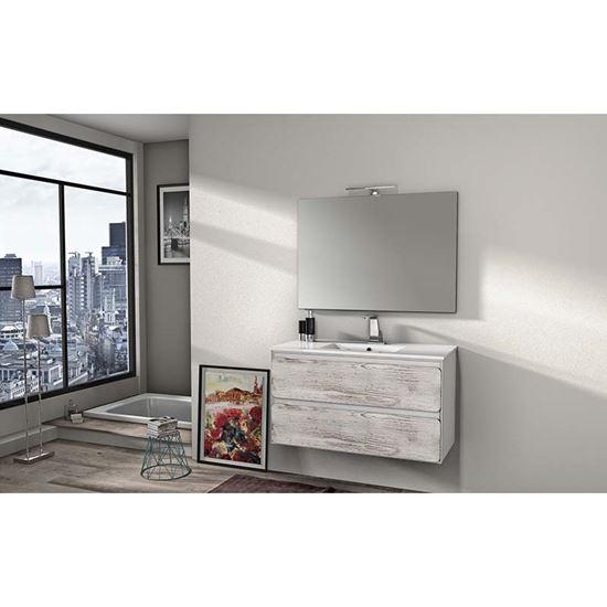 Mobile bagno Ultra 100cm 2 cassetti lavabo ceramica specchio ...