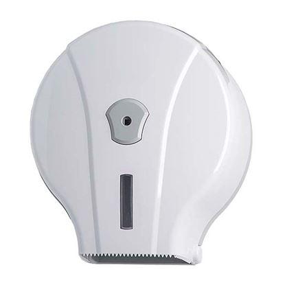 Immagine di Distributore di carta igienica Wave in ABS 200 mt rotolo max Ø190mm mandrino Ø 40 e 55mm bianco