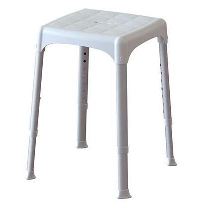 Immagine di Sgabello regolabile da bagno, seduta in tecnopolimeri, antiscivolo, forata gambe in alluminio telescopiche da 39 a 54 cm