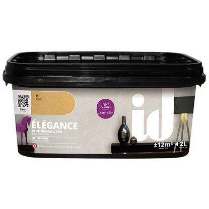 Immagine di Pittura decorativa Elegance, costellata di fini paillettes, per supporti lisci e sani, 2 lt, oro lamè