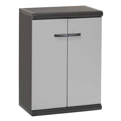 Immagine di Armadio basso 2 ante, in resina, 63x39xH84 cm, grigio, 1 ripiano
