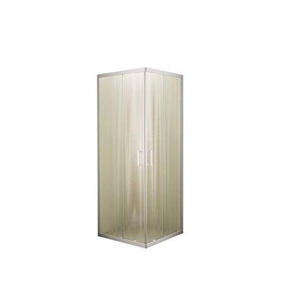Immagine di Box doccia Giulia, profilo bianco, cristallo piumato, spessore 4 mm, maniglia bianca, 69/79x69/79x185 cm
