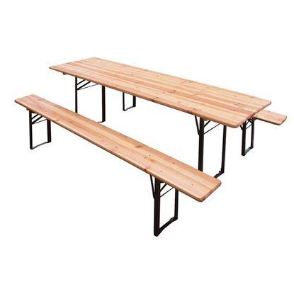 Immagine di Set Birreria 80x200 cm, composto da tavolo , 2 panche 200x25xh46,5 cm con 3 gambe