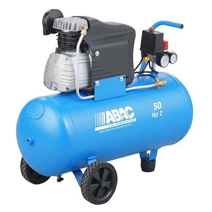 Immagine di Compressore Abac lubrificato  50 lt, serbatoio 50 lt, 8 bar, potenza 2 Hp - 1,47 Kw, aria aspirata 222 lt/min, attacco rapido, doppio manometro e regolatore di pressione