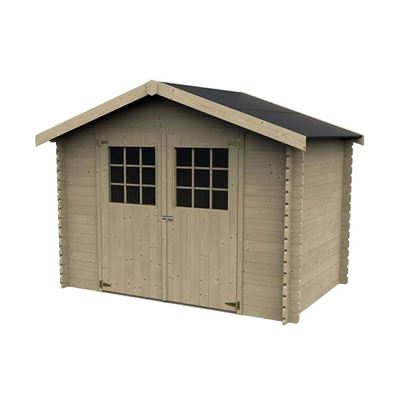 Immagine di Casetta in legno Udine 317x213xh233 cm, a perline ad incastro in legno abete del nord, spessore 28 mm, pavimento con listoni in legno di abete, porta doppia fissata su cardini, vetro sintetico, tetto in OSB