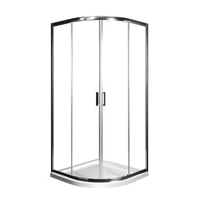 Immagine di Box doccia Teo 80x80 cm, semicircolare, profilo cromo, cristallo trasparente, spessore 6 mm