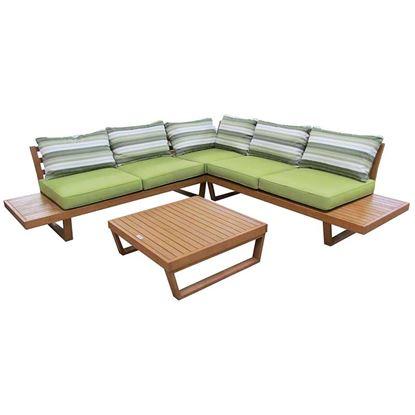 Immagine di Set angolare Martinica, in eucalipto finitura effetto teak, composto da: divano 79x167,5xh67,5 cm, divano angolare 79x79 67,5 cm, tavolino 80x80xh27,5 cm, seduta colore verde lime, schienale verde/bianco