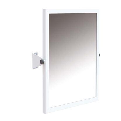Immagine di Specchio basculante con cornice in acciaio laccata bco con pellicola posteriore antinfortunistica fissag a parete