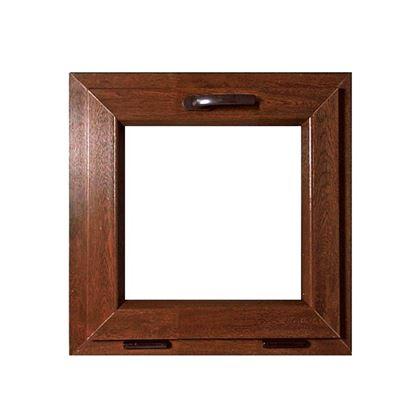 Immagine di Finestra pvc 1 anta vasistas 6 camere, doppio vetro, 60x60 cm, colore noce