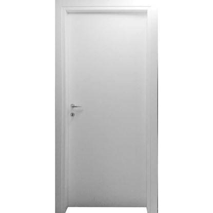 Immagine di Porta mara bianco, telaio piatto, reversibile, accessori cromo satinato, 88x214 cm
