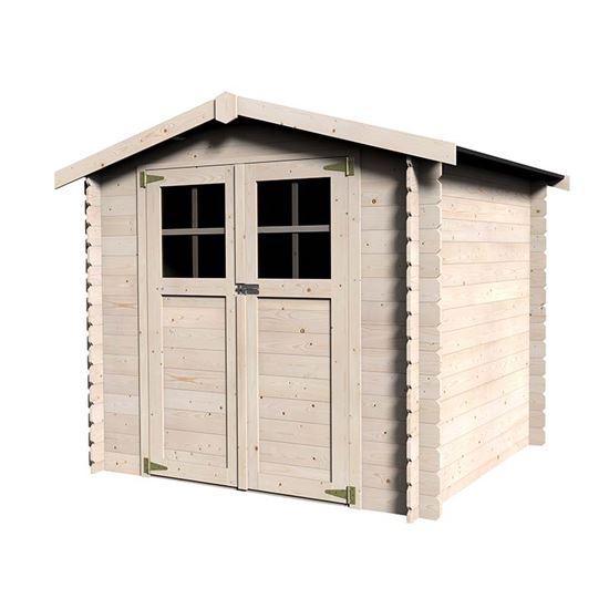 Immagine di Casetta in legno Olbia 230x213xh203 cm, a perline ad incastro in legno abete del nord, spessore 19 mm, pavimento in OSB, porta doppia su barre, vetro sintetico, tetto in OSB