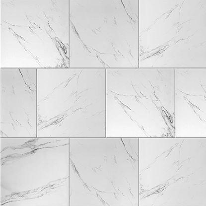 Immagine di Pavimento Carrara 60x60 cm, gres porcellanato, smaltato, rettificato, spessore 10 mm, conf da 1,44 m², colore bianco